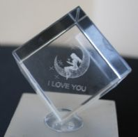 I Love You(moon) Crystal Laser Cube
